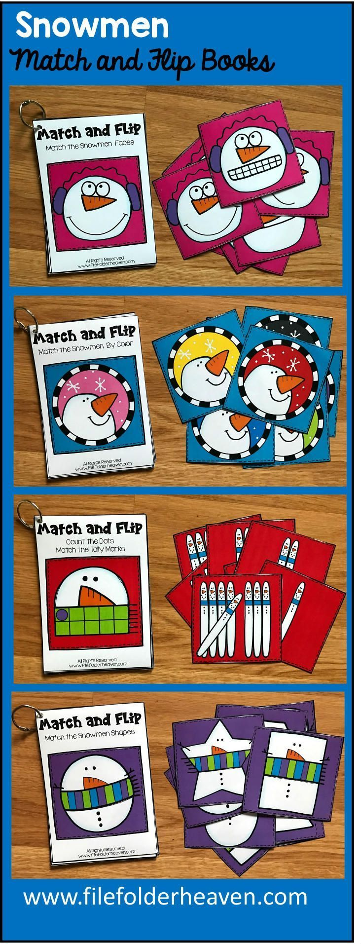 These Snowmen Match and Flip Books focus on basic matching skills. In these activities, students work on matching picture to picture (or by emotion/expression), matching by color, and matching by shape, and matching by counting.