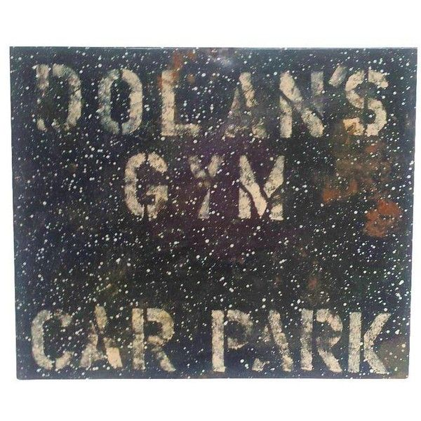 Metal Enamel & Paint Industrial Gym Parking Sign ($120) ❤ liked on Polyvore featuring home, home decor, wall art, novelty signs, signs, enamel signs, industrial signs, car wall art, typography wall art and text signs