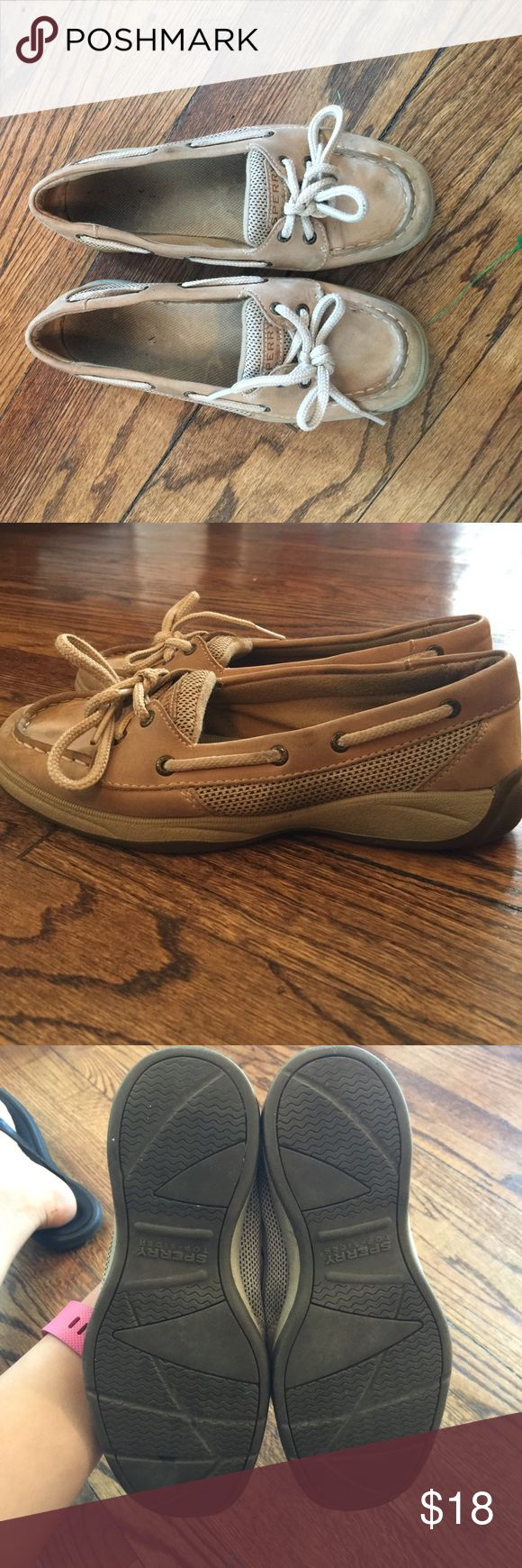 Girls sperry top sliders in tan Good used condition with plenty of wear left in these shoes. Open to offers Sperry Top-Sider Shoes Sneakers