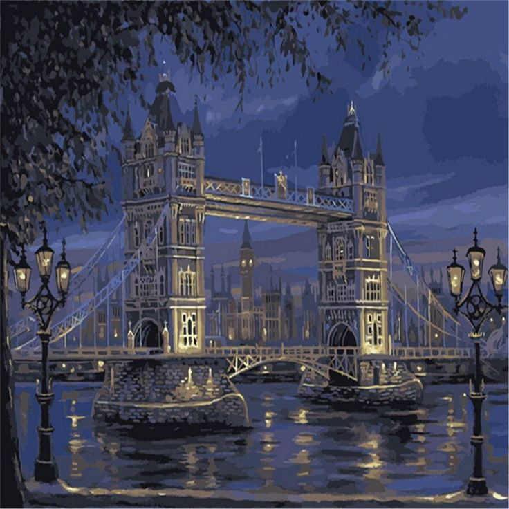 AmazonSmile: KINGSO DIY Oil Painting Paint By Numbers Kit Art Craft Bridge 40*50cm