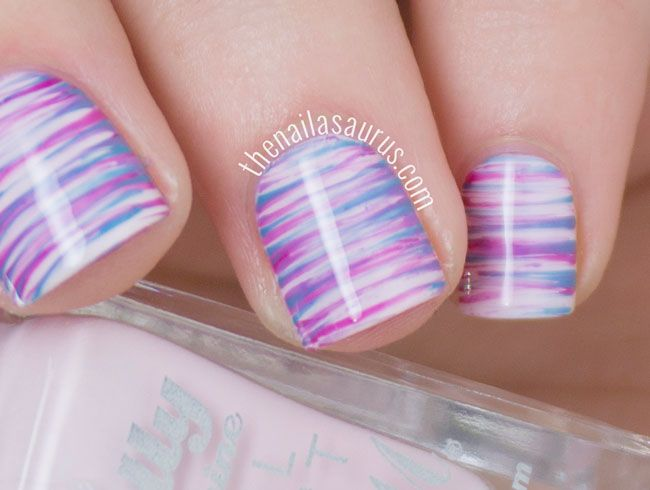 Purple Fan Brush Nail Art
