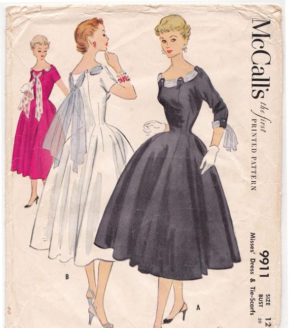 1950s McCalls 9911 GORGEOUS Full Skirt Dress and Tie Scarfs