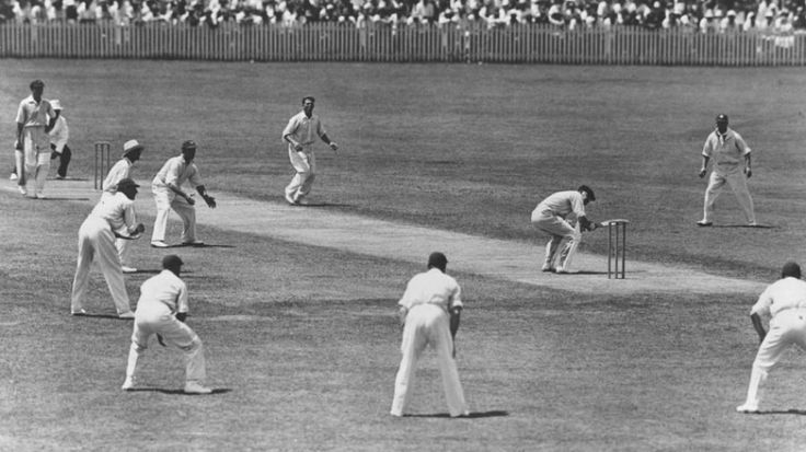 Rewind to 1933: A near riot at Adelaide Oval. Probably the classic Bodyline photo: Bill Woodfull ducks a ball from Harold Larwood in Adelaide. The ring of close fielders are there to catch the ball as the batsman fends it away from his body, with more in the deep. At times there were only two on the off side