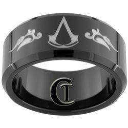 10mm Black Beveled Tungsten Carbide Assassin's Creed Design