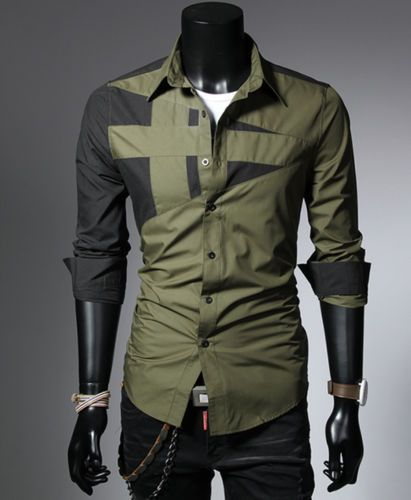 Mens-Casual-Dress-Shirts-Top-Hombres-Camisa-Camisetas-Long-Slim-M-L-XL-XXL-XXXL
