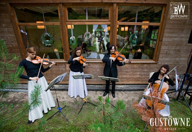 Kwartet smyczkowy na ślubie / String quartet at a wedding ceremony in the forest.