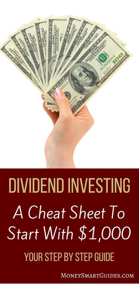 Your Cheat Sheet For How To Start Dividend Investing With $1000 | Want to start dividend investing? You can easily do so with just $1000. Learn the secrets for how to get started faster than you thought possible. Click through to learn more! via @moneysma