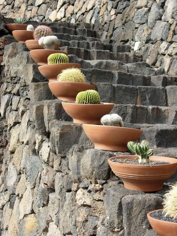 Pots on the steps of the Cactus Garden, Lanzarote, Canary Islands, Spain