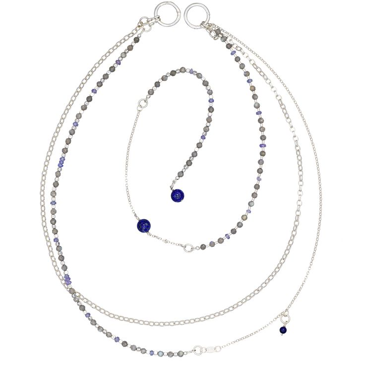 To make it even more versatile, you can even wrap it around your wrist for a dramatic bracelet.  The simple rope-like body of the necklace is embellished by splendid labradorite and tanzanite  beads. Three deep blue lapis lazuli beads add an original flair to the necklace's appearance.