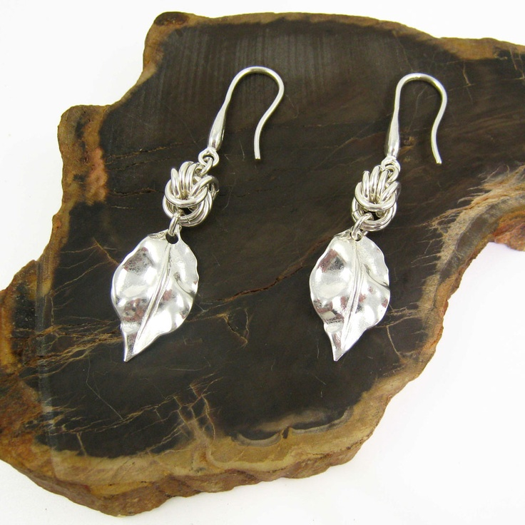 Sterrling silver chain maille earrings by Gemtation jewellery