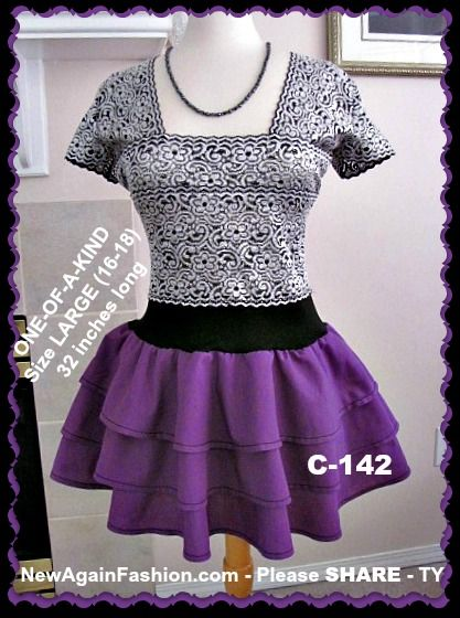 Silver and purple refashioned tunic dress. $139 size 16-18 - To order, email me at SEWtrend@gmail.com