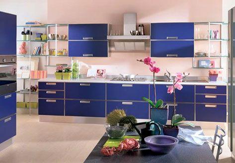 Colori pareti pitturare interni cucina blu e rosa