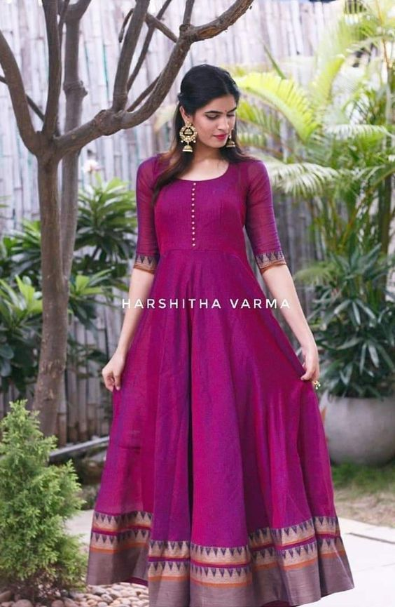 0673b7a0490 Innovative Ideas to make long gown dresses from old saree - Kurti Blouse