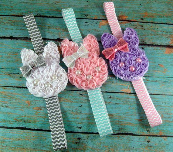 Chiffon Bunny Rabbit Chevron Headband -Easter Headband - YOUR CHOICE - Newborn - Infant - Baby - Toddler - Girl - Photo Prop