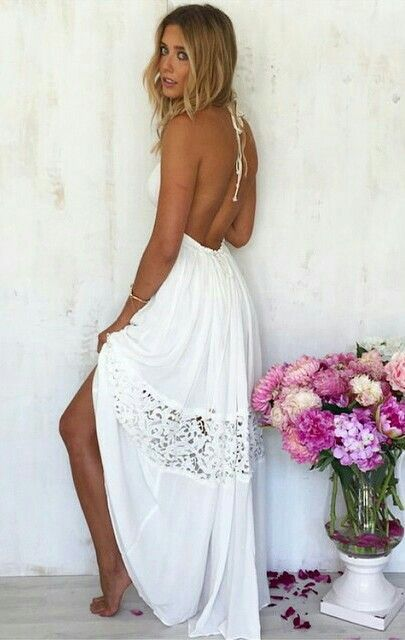 Dress for Women, Evening Cocktail Party, White, polyester, 2017, 10 8 2BEKINI