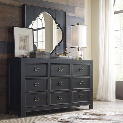 Dorinda Vintage Style 5 Drawer Chest 9 Drawer Dresser Black
