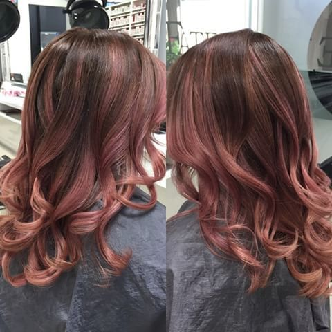 Brunette to rose gold balayge