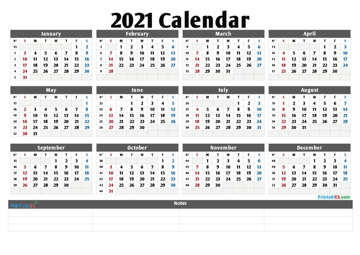 Printable 2021 Yearly Calendar with Week Numbers - 21ytw98 ...