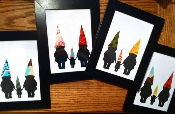 Dapper Gnome Families -- 5x7 Framed Silhouette Art