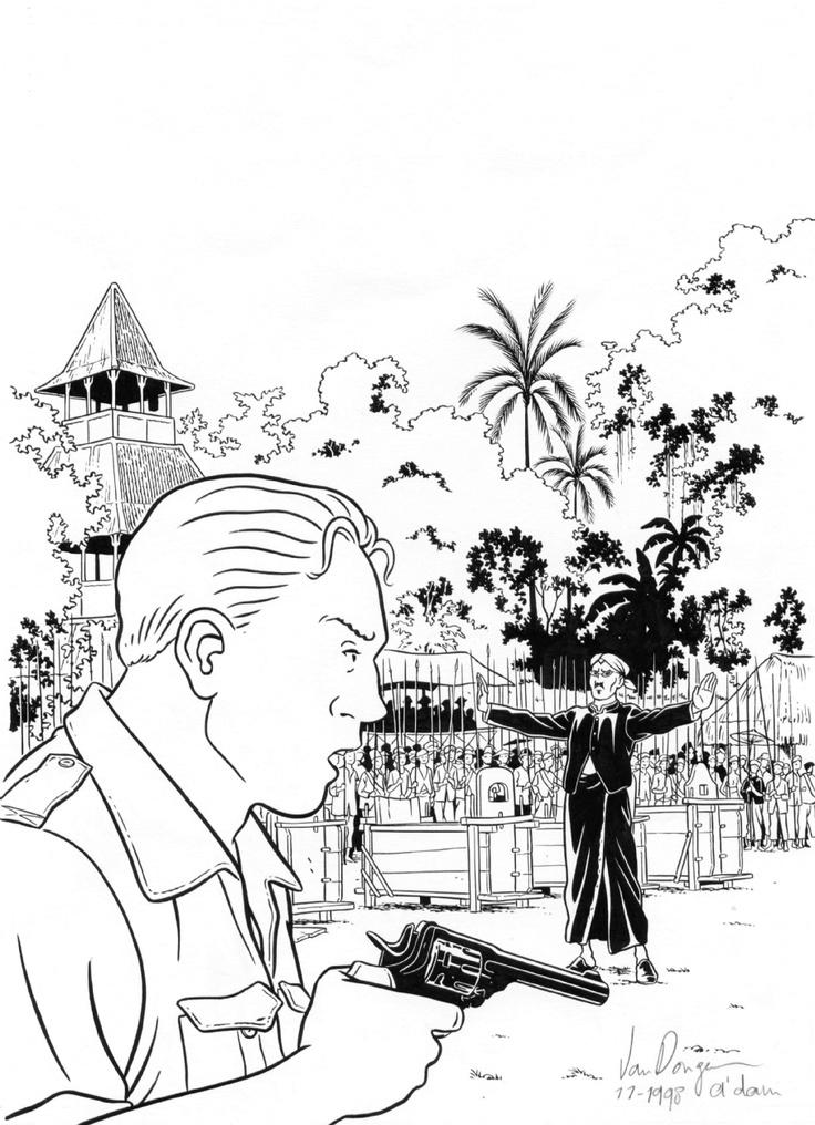 1998 - Rampokan / Zozolala Comic Art. Original comic art. PETER VAN DONGEN - born 1966 - The Netherlands Rampokan - Zozolala 103 Cover magazine - Ink on paper - 33x24 cm Publication Dutch magazine 'Zozolala' 1998.