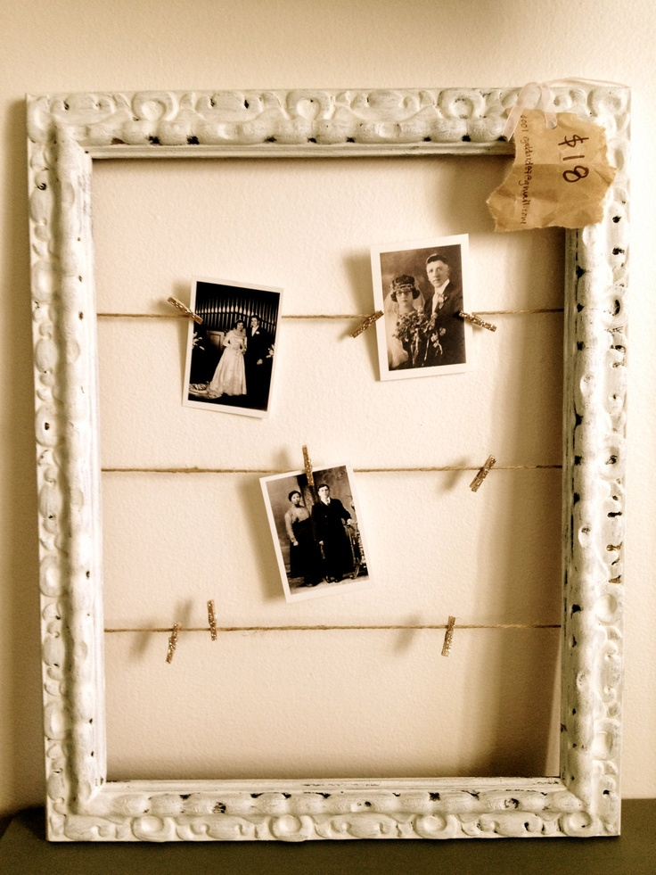 Painted frames with wire or twine and decorative paper clips for the ...