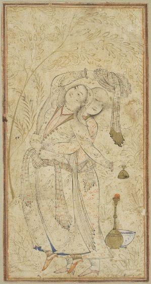 Lovers Embracing, folio from an album, Iran, Isfahan, Safavid period, c. 1650