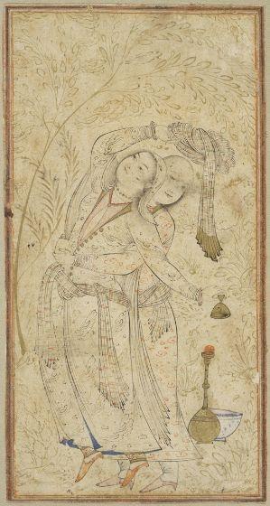 Lovers Embracing, folio from an album, Iran, Isfahan, Safavid period, c. 1650