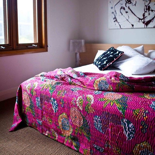 Our gorgeous Kantha Quilts are great as an extra layer, on those cold winter nights..and light enough, so that in summer you can loose your doona and simply pop it over your flat sheet.