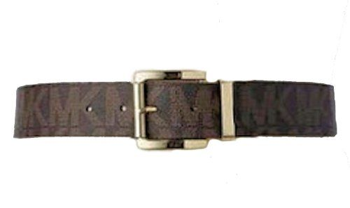 Michael Kors Women's 553143 MK Monogram Belt (Medium). Tow shades of Chocolate Brown;  Gold Hardware. Single prong buckle. 100% Authentic Merchandise from Direct Net Buys. Belt Width: 2.5 inches;    Buckle: 2.5 inches. Direct Net Buys offers FREE SAME DAY Shipping to US Customers and easy Returns.
