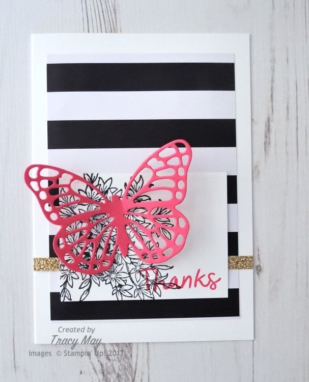 Butterflies Thinlits by Stamping' Up! - Spring has sprung and I have a lovely bright, clean and simple card for Create with Connie & Mary this week!