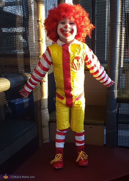 Jessica: Jayden Chapa-5 loves McDonald's and so we agreed ronald McDonald would be the best homemade costume for this year. Materials for this costume cost around $35 Used red/yellow duct tape--1...