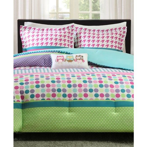 Mi Zone Katie 4-Pc. Reversible Full/Queen Comforter Set ($60) ❤ liked on Polyvore featuring home, bed & bath, bedding, comforters, aqua, blue green bedding, owl comforters, aqua blue comforter, full queen comforter and aqua comforter set