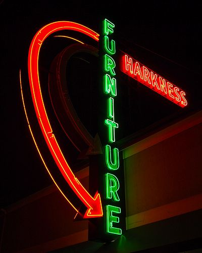 Sign For Harkness Furniture On South Tacoma Way (Highway 99) In Tacoma,  Washington