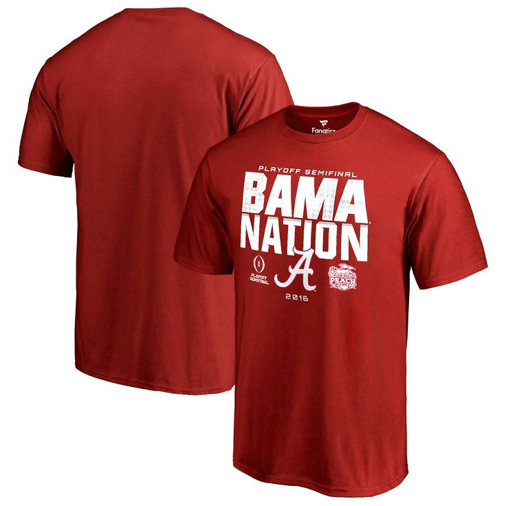 Alabama Crimson Tide Fanatics Branded College Football Playoff 2016 Peach Bowl Bound Nation T-Shirt - Crimson - $19.99