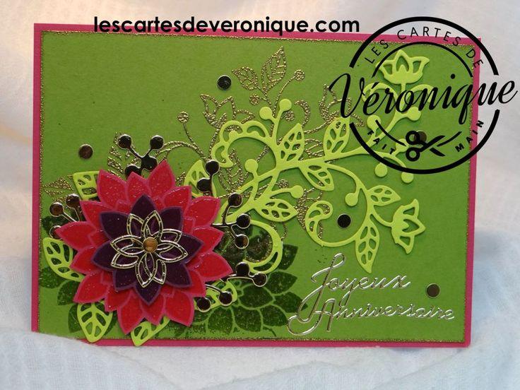 Carte 3D Stampi'Up® Anniversaire (Eclosion de pensées) - Anniversary Stampin Up® 3D Card (Florishing phrases/Flourish Thinlits)