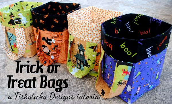 Treat Bags and a Tutorial | Fishsticks Designs Blog - using different material would make cute bags, purses, etc.