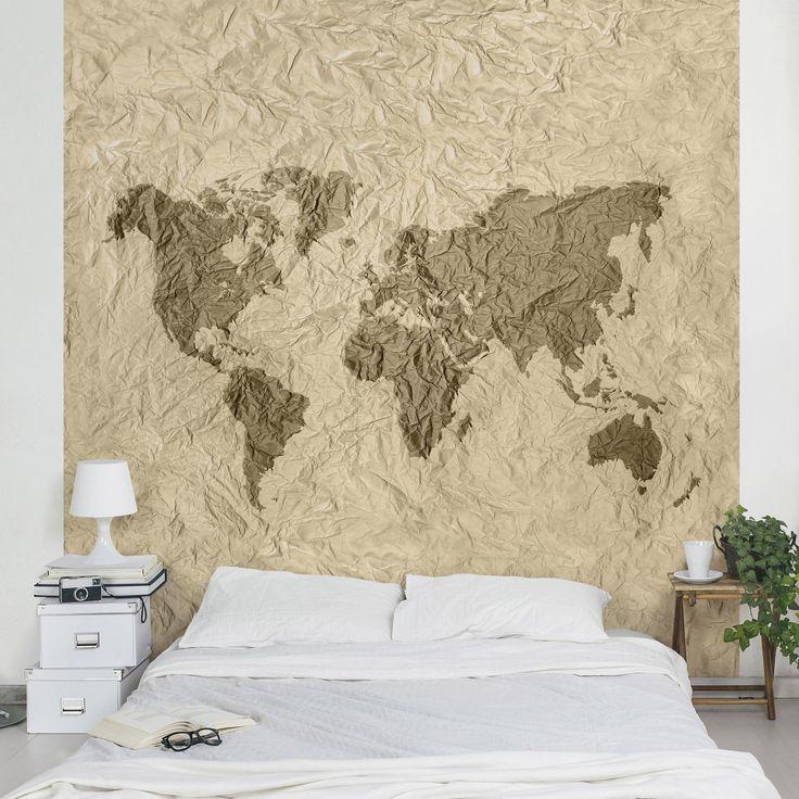 Carta da parati mappamondo Mappa del mondo effetto carta
