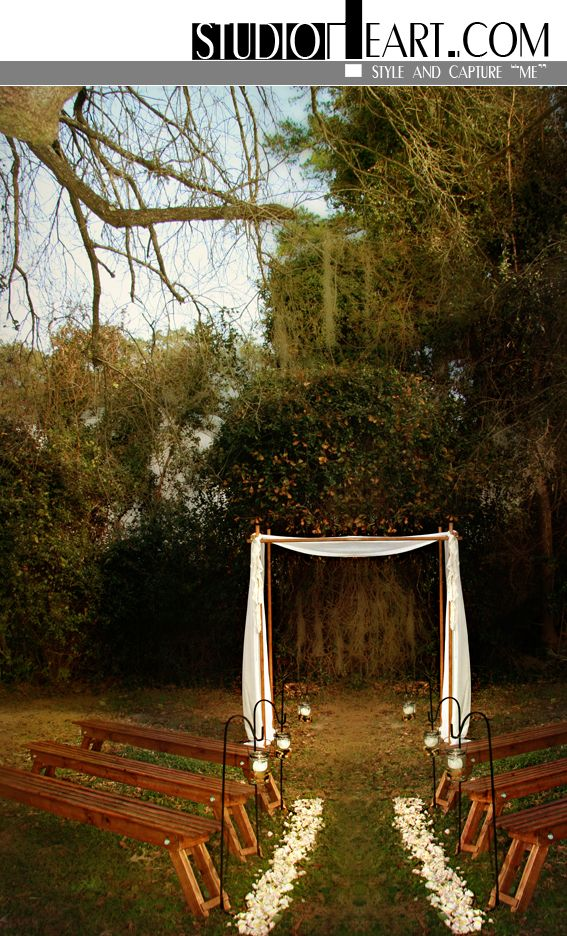 Studio Heart - Intimate Wedding Ceremony Setting with wood benches and huppa