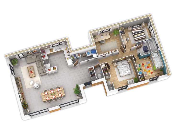 59 best plan maison images on Pinterest House template, Dream home - plan maison en l 100m2