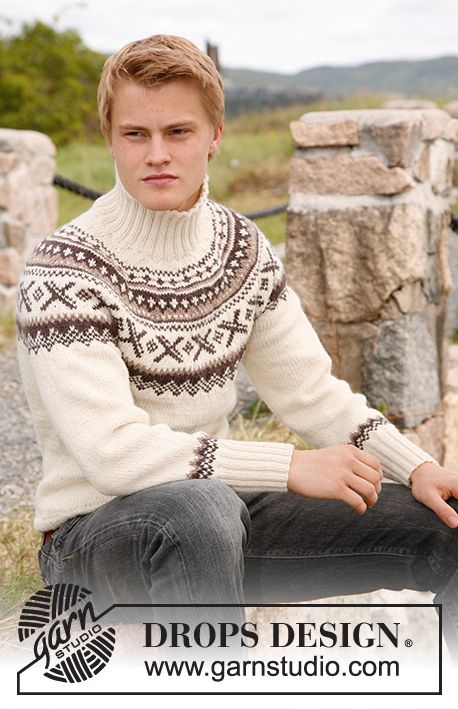 """Ivalo - Knitted DROPS jumper for men with round yoke and Norwegian pattern in """"Karisma"""". Size: S to XXXL. - Free (3mm 4mm 750gm - 1100gm) pattern by DROPS Design"""