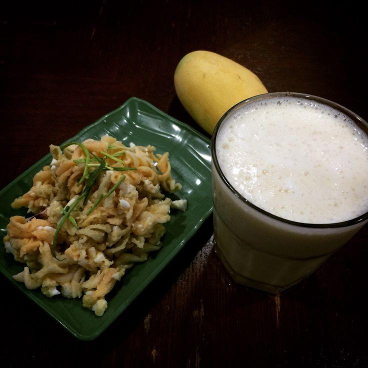 Homemade Potato egg fusilli salad with blended mango protein shake... Post-workout breakfast.