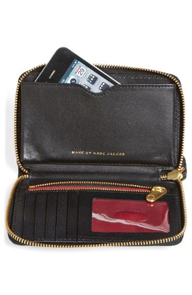 "MARC BY MARC JACOBS 'New Q Wingman' Wallet Wristlet $148.00Free ShippingItem #857121 6""W x 4""H x 1""D."