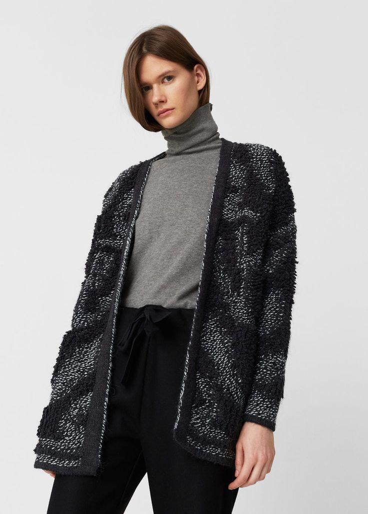 Cardigan maglia testurizzato - Cardigan e pullover da Donna   MANGO Italia