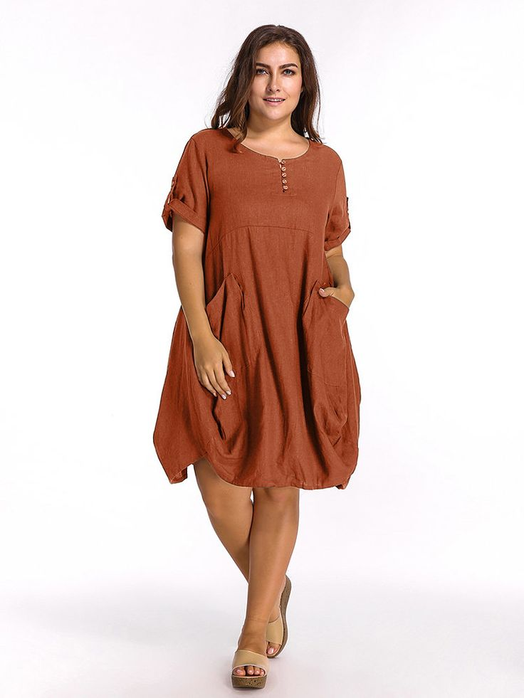 O-Newe Loose Women Solid Half Sleeve Pockets Lantern Dress - NewChic