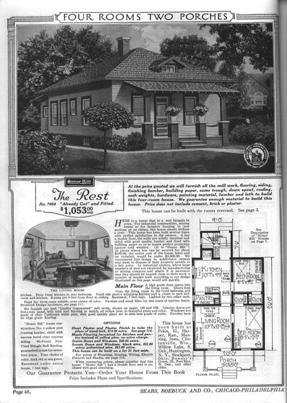 Sears Bungalows for Sale, 1921 Catalog House Plans: Sears Modern Home No. 7004…