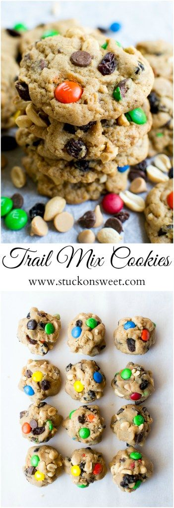 Trail Mix Cookies | A chewy and crunchy cookie recipe that you're going to love! | www.stuckonsweet.com