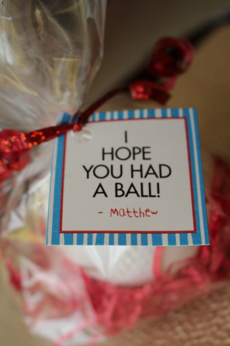 """I Hope You Had a Ball!"" favor tags....also available as ""We Hope You Had a Ball!"" for twin or sibling parties"
