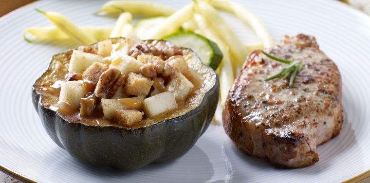 ... acorn squash with a sweet blend of orange juice, apples, pecans and