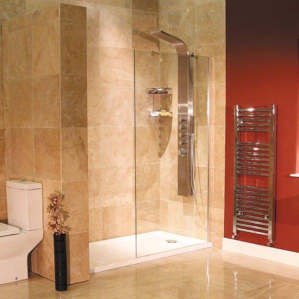 1850 x 1200 walk in glass shower screen bathroom for Wet room shower screen 400mm