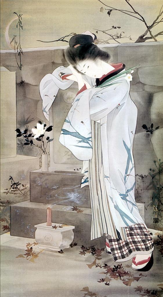 鏑木清 Kaburagi Kiyokata《一葉女史の墓》1902年